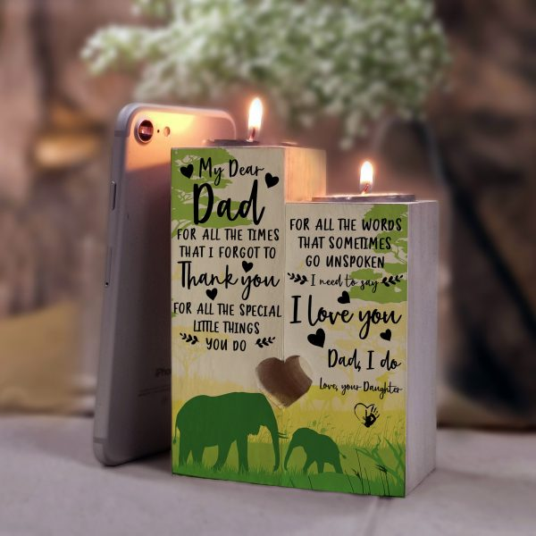 To Dad Candle Holder From Daughter I Love You Pair For Christmas Birthday Xmas Wedding Valentine 2021 Father's Day Gift
