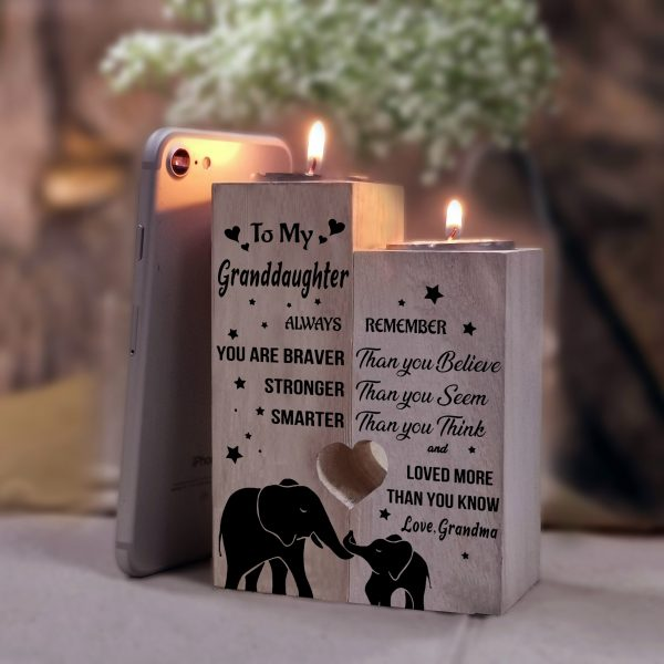 To Granddaughter Pair Candle Holder Gift From Grandma For Birthday Wedding School College Graduation Christmas