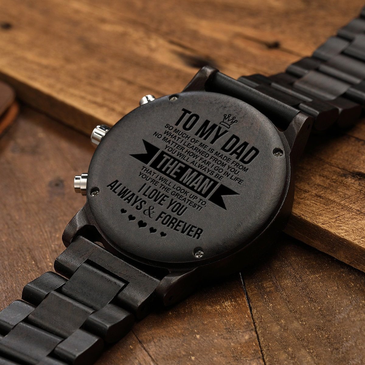 To My Dad Wooden Watch Gift With Love Message From Son Daughter Men For Anniversary Xmas Birthday Father's Day