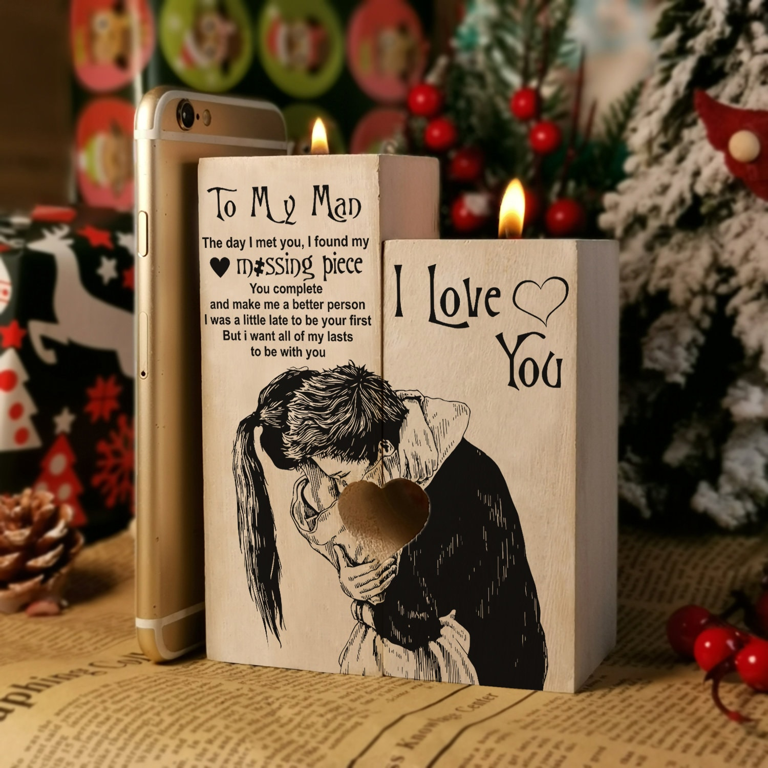 To My Man For Husband Pair Candle Holder Wife Gift 2021 Birthday Christmas Uni Graduation Valentine Wedding Anniversary Gifts
