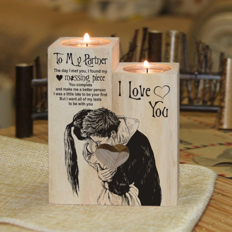 To My Partner From Husband Wife Candle Holder Gift For 2021 Valentine Mother's Day Xmas Birthday Wedding Anniversary Christmas