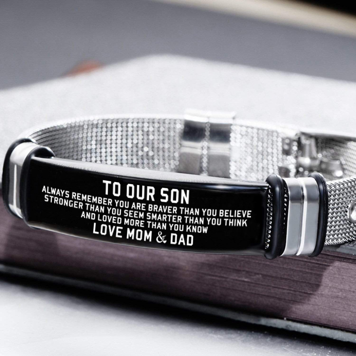 To My Son Bracelet Wristband Gift From Mom Dad Jewelry Love Son For 2021 Christmas Wedding College Graduation Birthday Xmas
