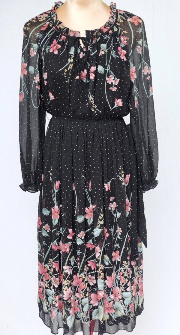 Tokyo Blouse Company, Dress, Long Sleeved , Feminie, Day Dress, Evening, Wedding, Light Weight, Chiffon, Floral, Belted Dress, Lined