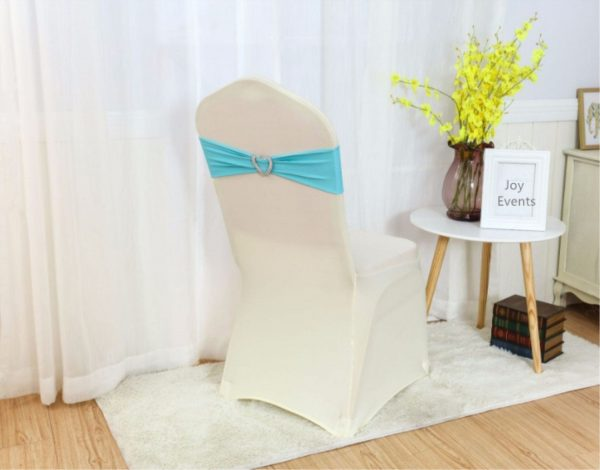 Turquoise Blue Spandex Chair Bands Sashes Bow Tie Ribbon Wedding Engagement Birthday Shower Party Reception Bouquet Decoration