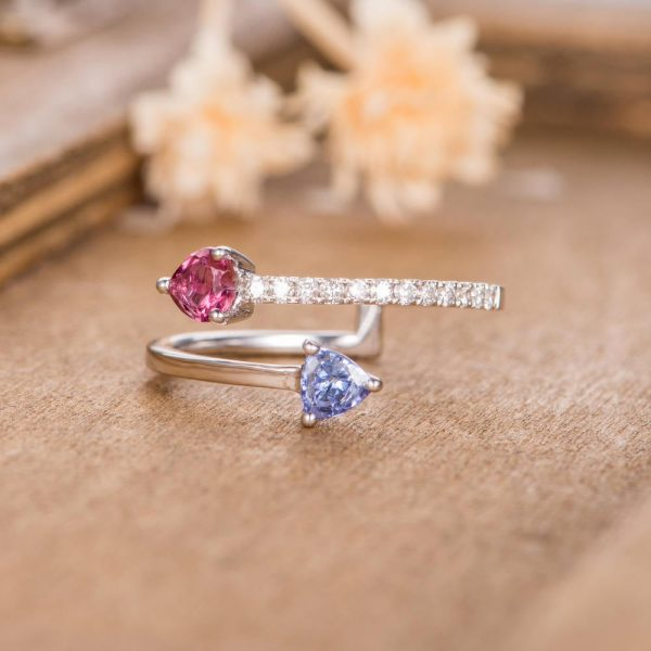 Unique Adjustable Open Ring Wedding Band Cuff Tanzanite Red Tourmaline Pear Shaped Diamond Half Eternity Solitaire Anniversary Promise