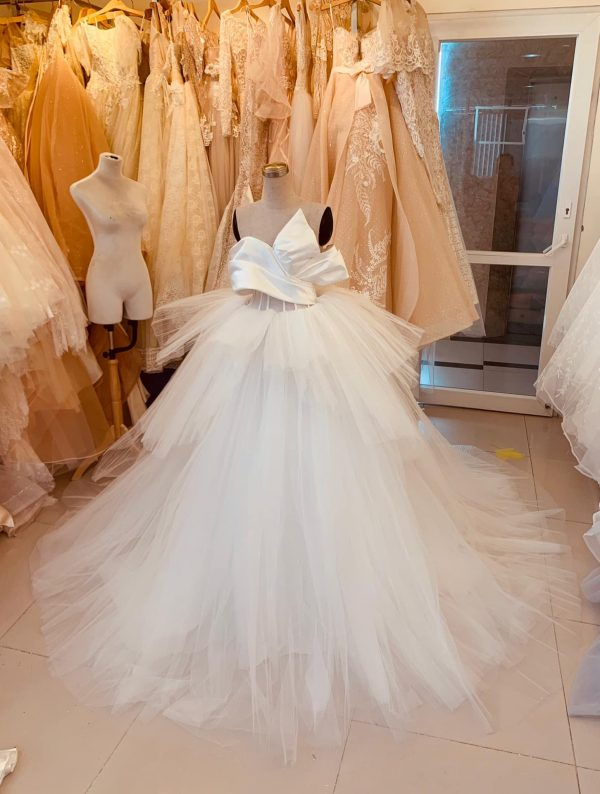 Unique Luxury Satin Wedding Dress With Layered Tulle Skirt, Made To Order White Strapless Princess Bridal Gown For A Fairy Tail