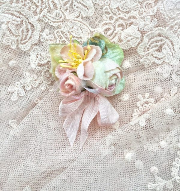 Velvet Flower Clip. Posy Brooch. Childs Pale Peach Floral Shoe Girl Accessory.buttonhole Pin