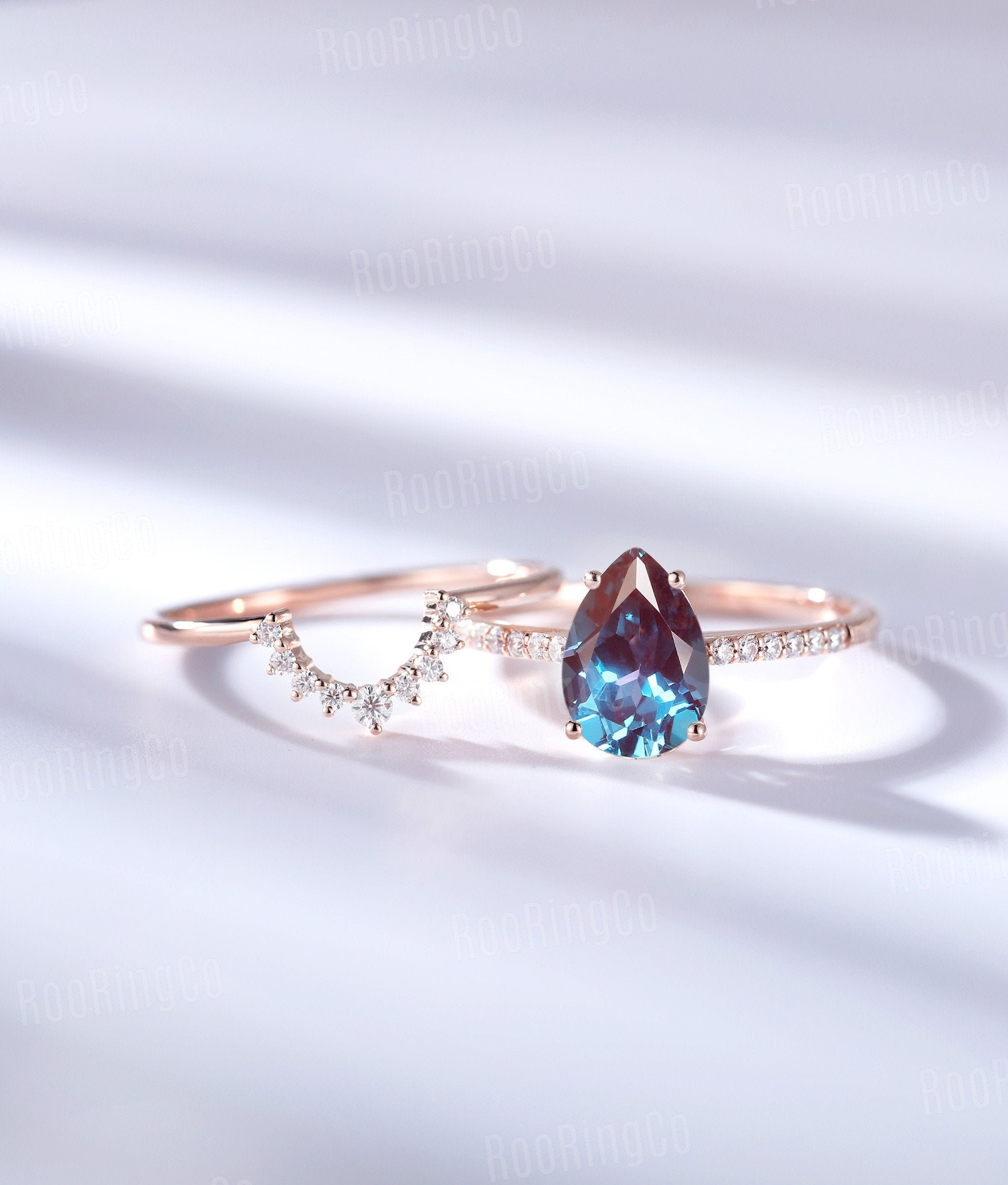 Vintage Alexandrite Engagement Ring Set Pear Shaped Prong Art Deco Rose Gold Curved Wedding Band Unique Anniversary