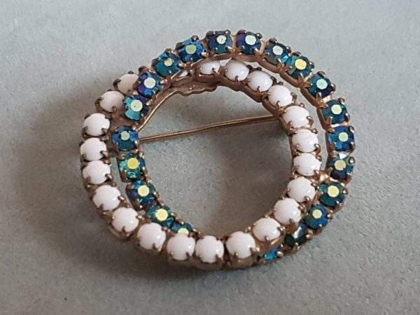 Vintage Aqua Blue & White Rhinestone Infinity Brooch; Glamorous Accessories; Wedding Party Jewellery; Mother Of The Bride; Something Blue