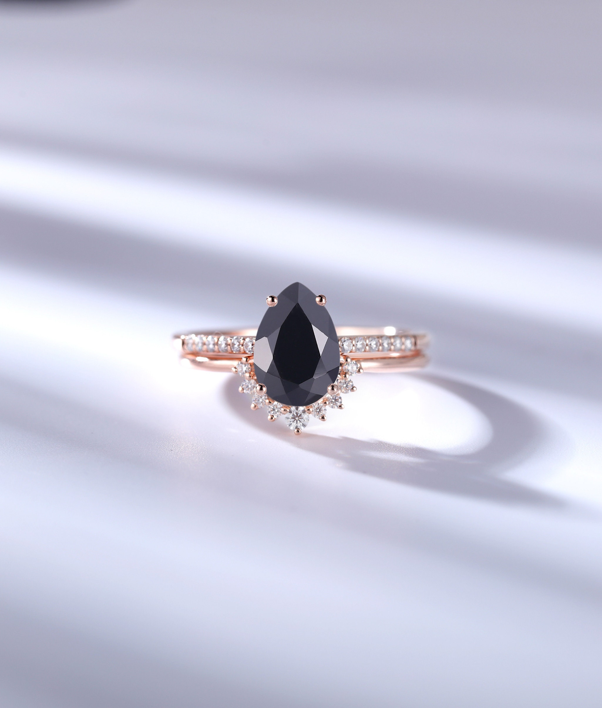 Vintage Black Onyx Engagement Ring Set Pear Shaped Prong Art Deco Rose Gold Curved Wedding Band Unique Anniversary