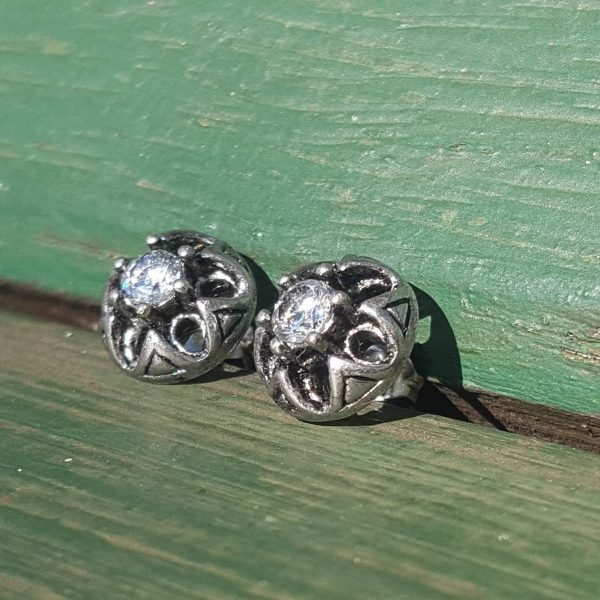 Vintage Flower Dome Cubic Zirconia Round Studs Earrings | Wedding Bridal Party Gifts For Her