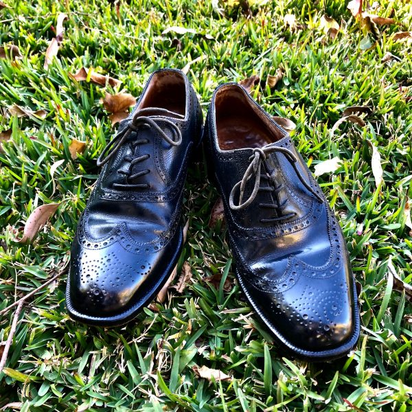 Vintage Men's Black Leather Oxford Brogues 8 1/2 Bally Scribe Of Switzerland