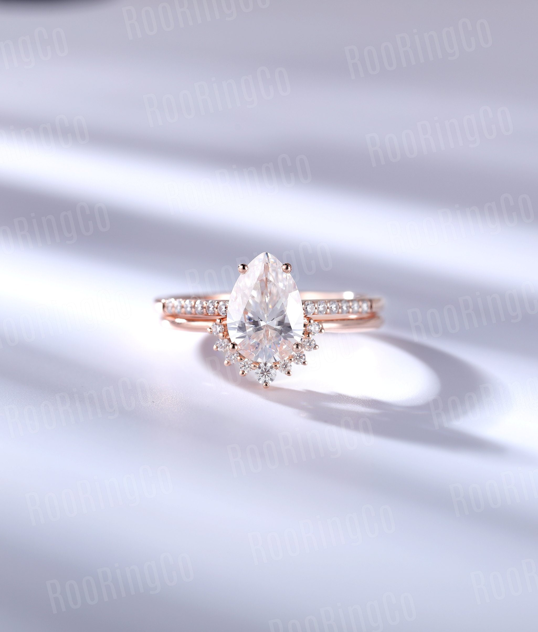 Vintage Moissanite Engagement Ring Set Pear Shaped Prong Art Deco Rose Gold Curved Wedding Band Unique Anniversary