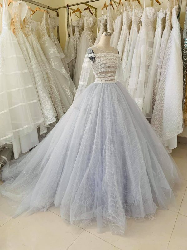 Vintage Pastel Blue Lace Wedding Dress Made To Order, Beautiful Princess Bridal Gown For A Fairy Tail Wedding, Unique & Affordable
