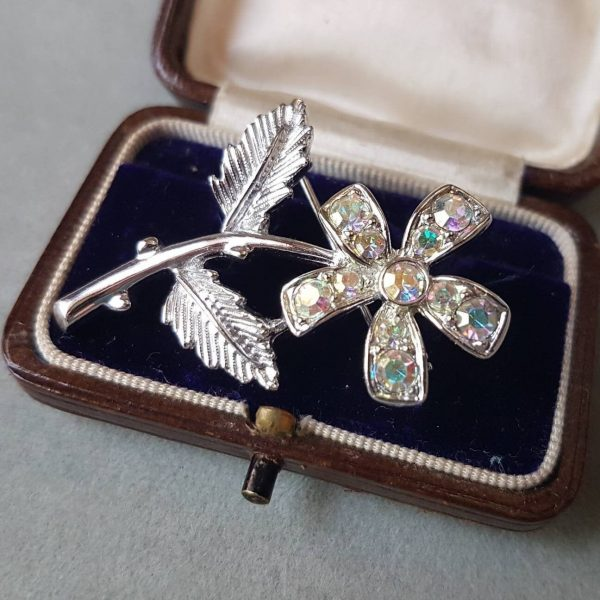 Vintage Sarah Coventry Clear Aurora Borealis Rhinestone Brooch; Petal Floral Design; Simple Elegant Statement Bling Piece; Great Condition
