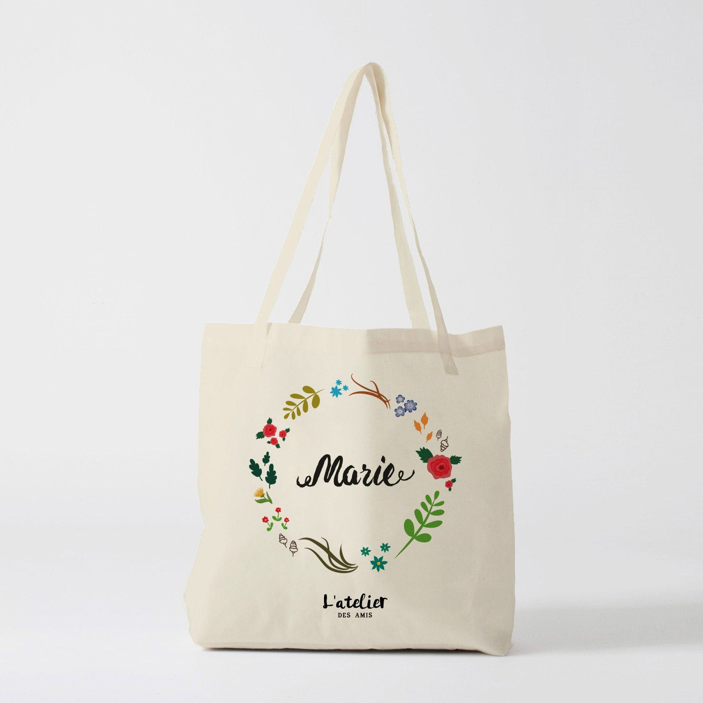 W32Y Tote Bag Personalized Wedding Tote Bag Bridesmaid, Flower, Bachelorette Party Canvas