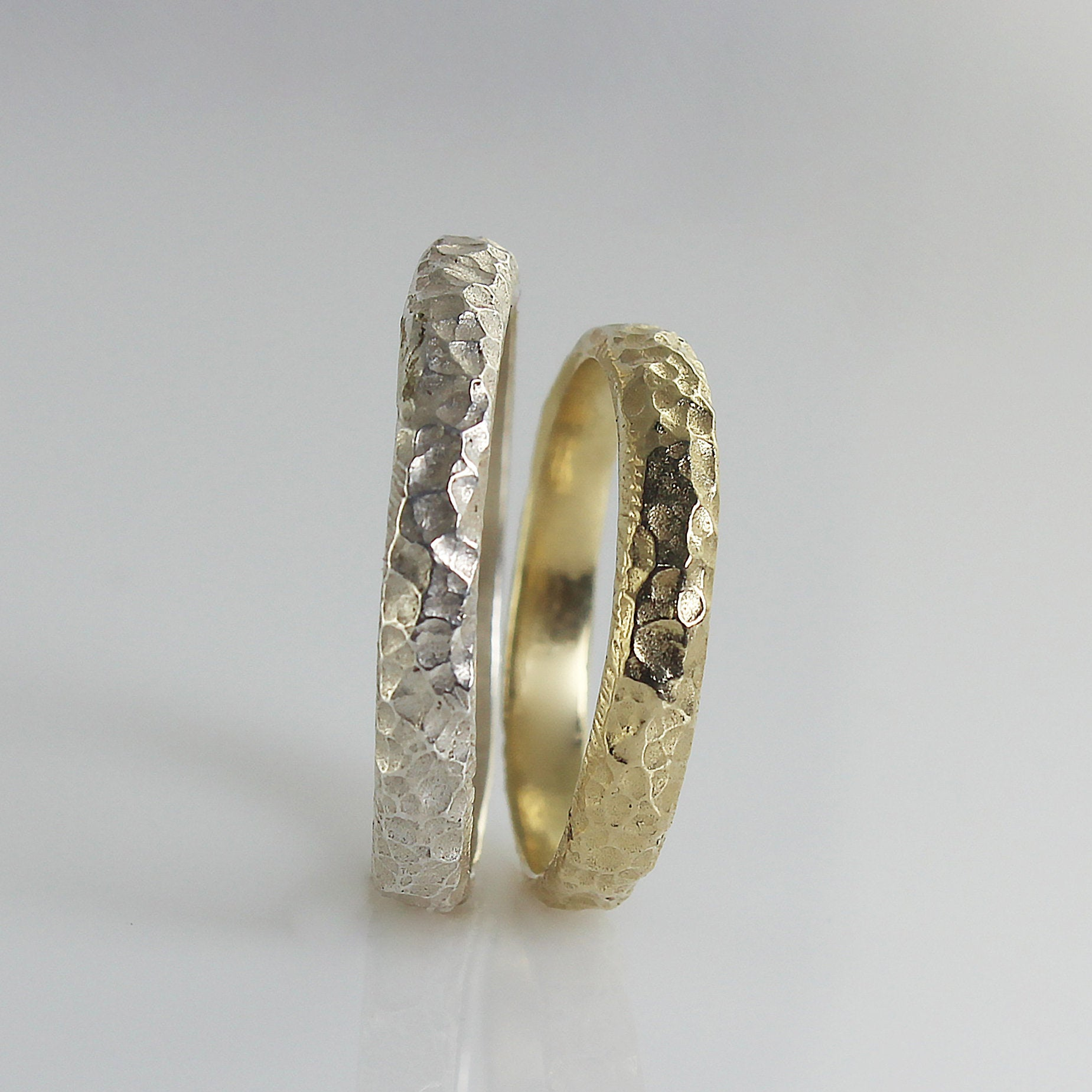 Wedding Band Set , Matching Wedding Bands White Gold Rough Hammered Texture Unisex Ring Band, His & Hers Band