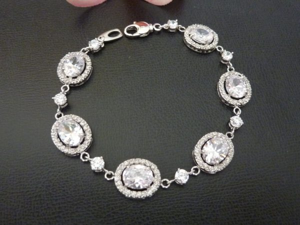 Wedding Bridal Bracelet - High Quality Halo White Clear Oval & Little Round Cubic Zirconia