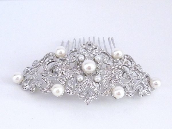 Wedding Bridal Hair Comb - Silver Gold Plated Pearl Rhinestone Crystal Accessories Jewelry