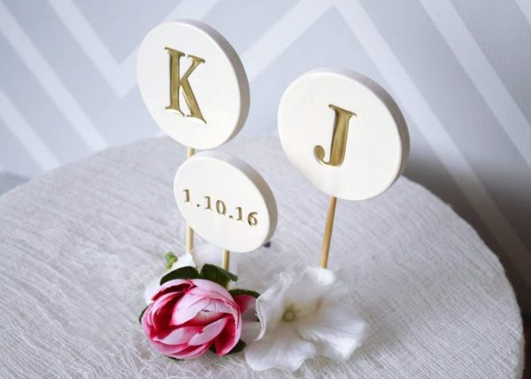 Wedding Cake Topper - Personalized & Modern Circle With Initials Date Available in Different Colors