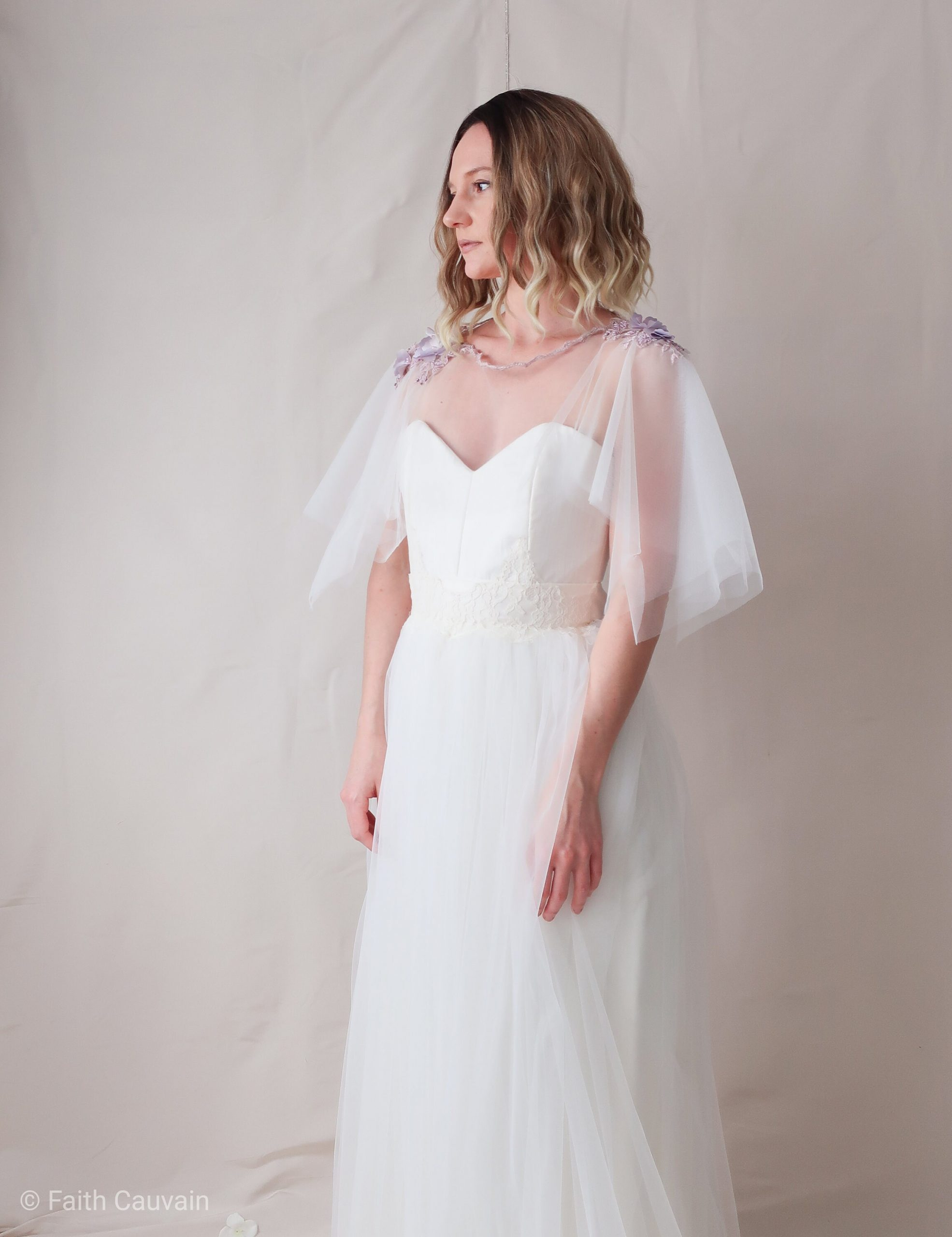 Wedding Cape in Tulle & Embroidery. Accessory For The Bride's Shoulders. Accessory. Sailing