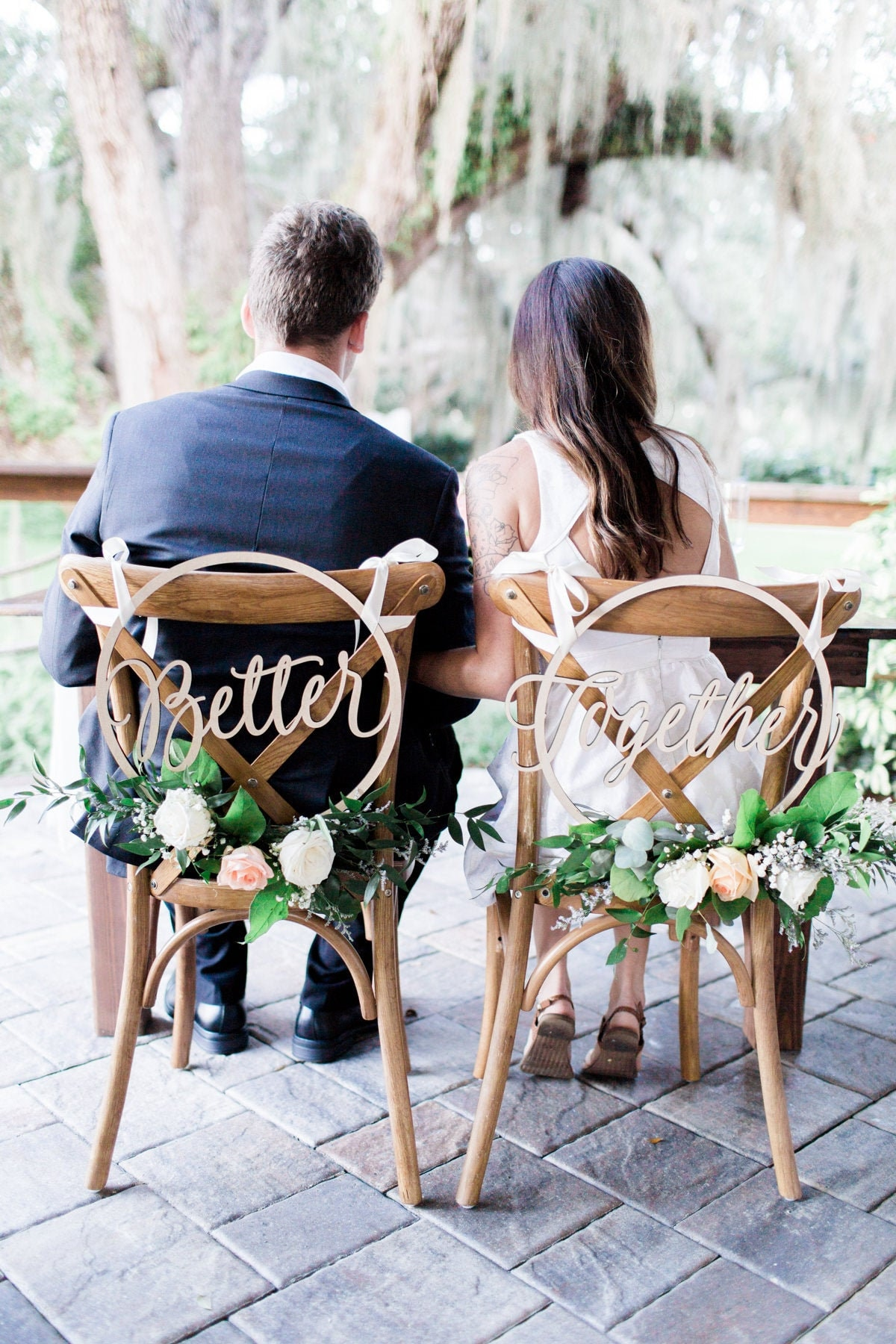 Wedding Chair Signs Hoop Style Better Together Chairs, Floral Calligraphy Wooden Hanging Set Circle | Item - Bth200
