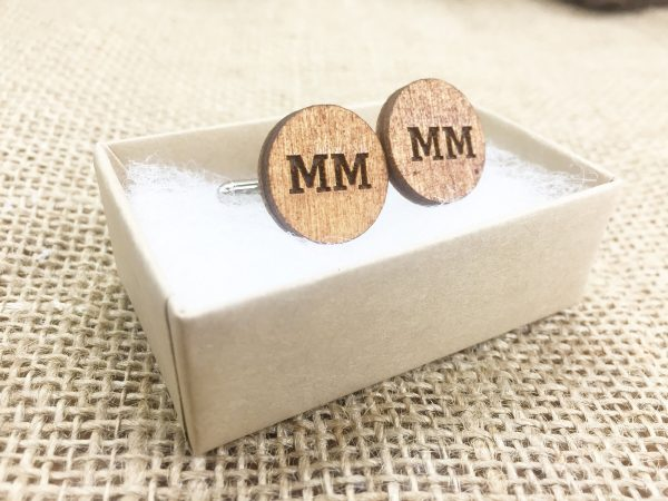 Wedding Day Gifts For Guys Personalized Wood Cufflinks Wooden Cuff Links Customized Personalised Monogrammed With Initials Custom