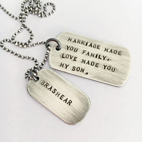 Wedding Day Son in Law Gift, Marriage in Law, Mens Dog Tag Necklace, Gift For Personalized Tags, Rustic