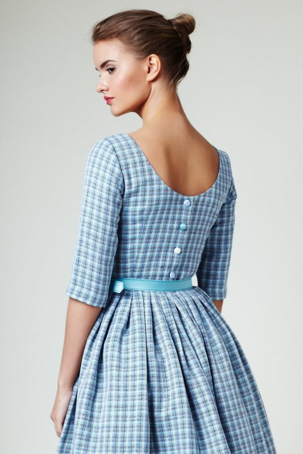 Wedding Guest Dress, Alternative Wedding 1950's Style Clothing, Blue Cocktail Pin Up Vintage