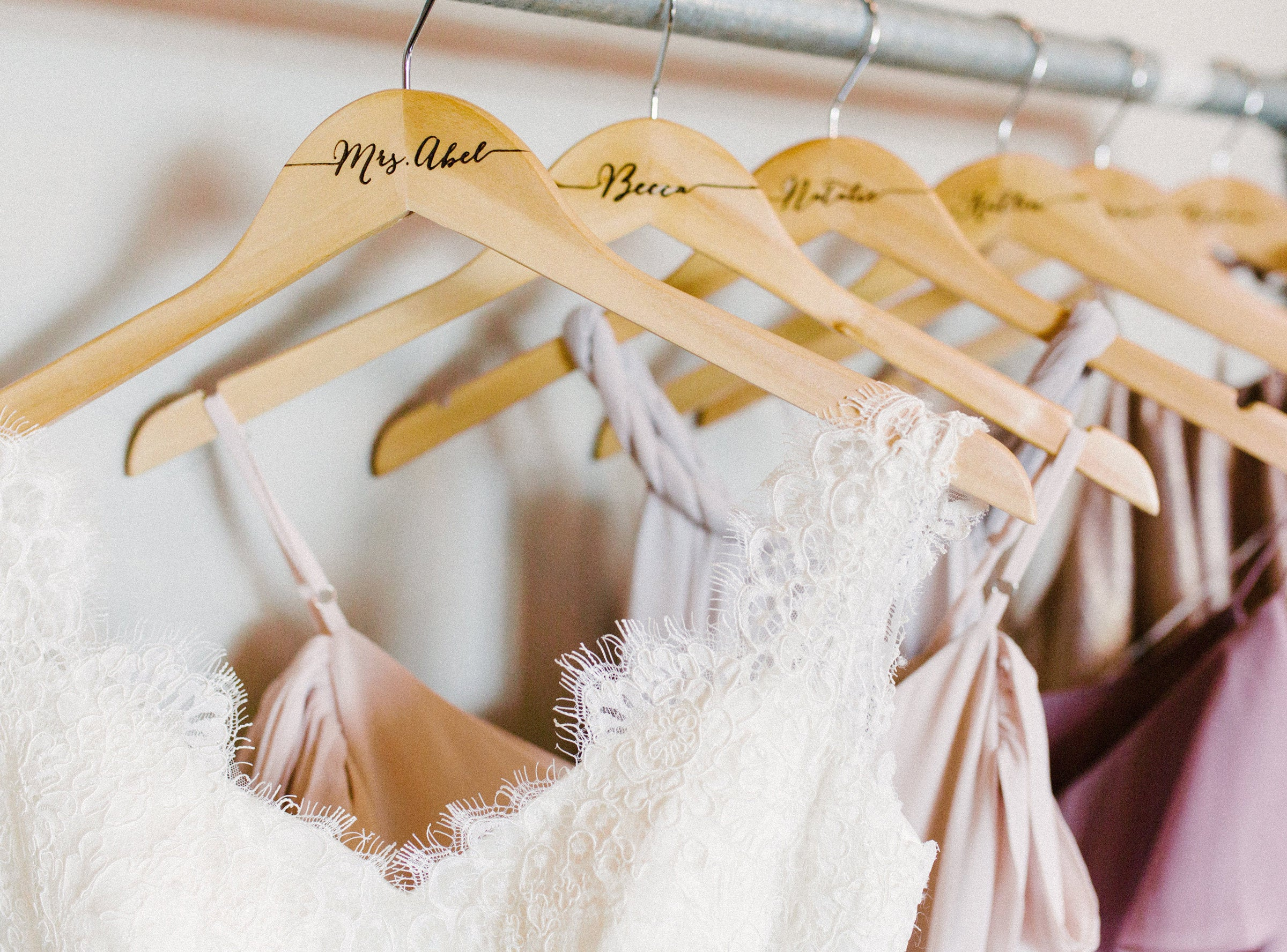 Wedding Hanger With Name For Bride & Bridesmaids Party Bridal Dress Mrs & Groom