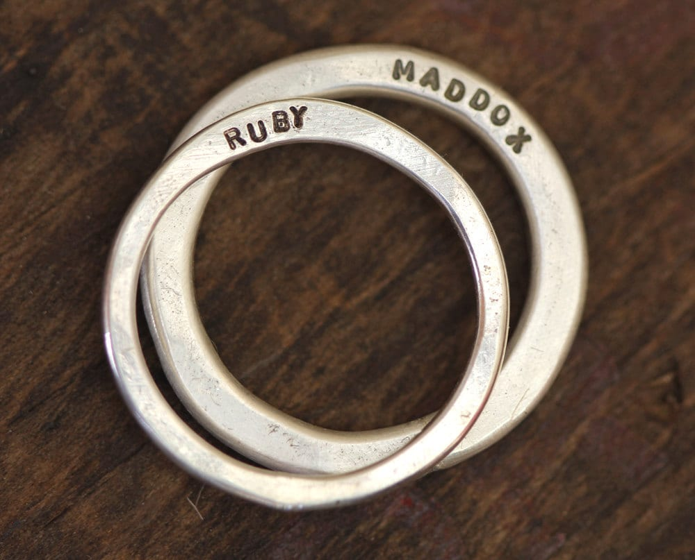 Wedding Ring Set Modern Personalized Of Bands | E0279