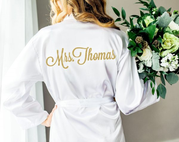 Wedding Robe Personalized For Bride Bridesmaids Bridal Party Robes Name & Monogram | Item - Rob100