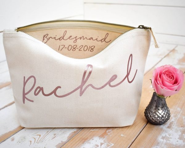 Wedding Thank You Gift - Personalised Bridesmaid Make Up Bag Maid Of Honour Unique For Bridal Party, Makeup Cosmetic Bags