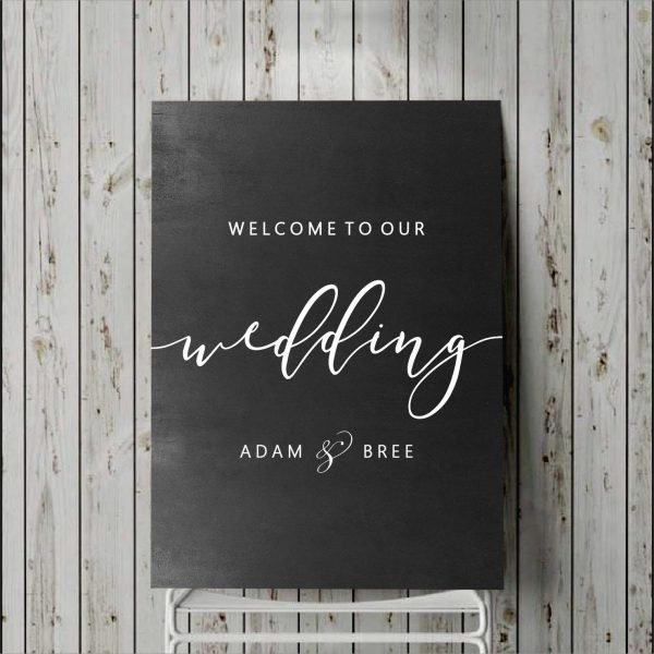 Welcome To Our Wedding Sign Signage Decal Vinyl Sticker Custom Portrait Board Decor Personalised Names