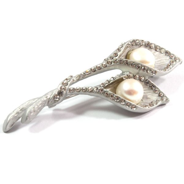 White Double Leaves Cultured Pearl Brooch 10.5-11.0mm
