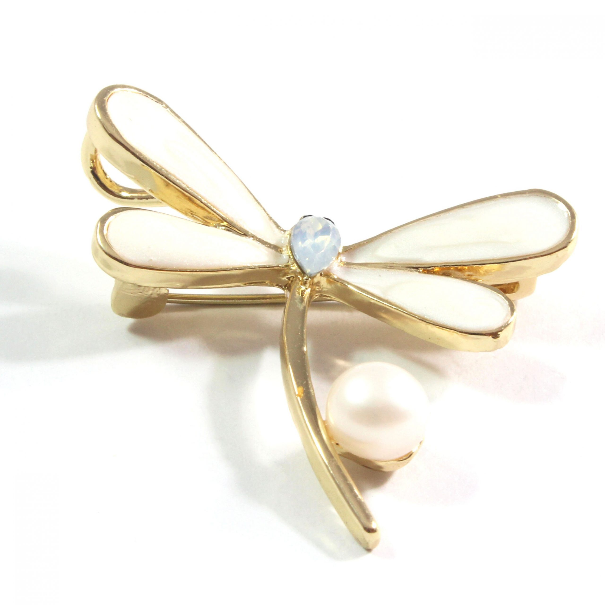 White Dragonfly Freshwater Cultured Pearl Brooch 7.5-8.0mm