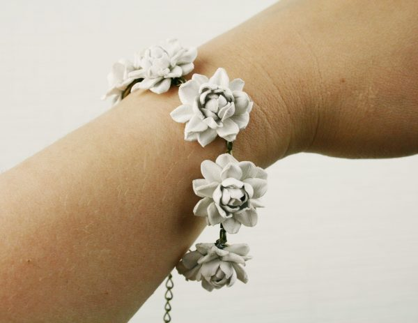 White Leather 6 Small | 1'' Roses Bracelet, Delicate Floral Wedding Jewelry, Real Leather Accessories