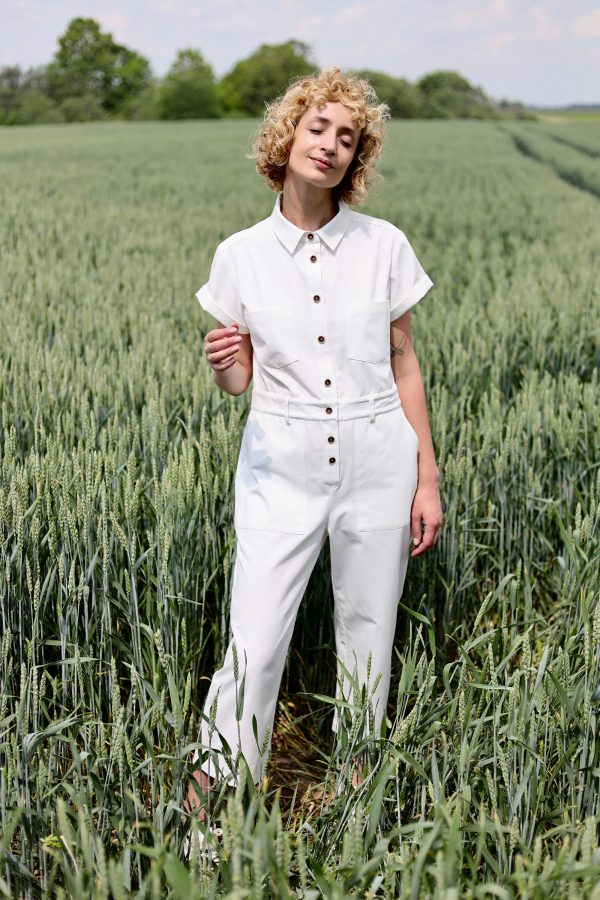 White Organic Cotton Jumpsuit/Short Sleeve Coverall Twill Offon Clothing