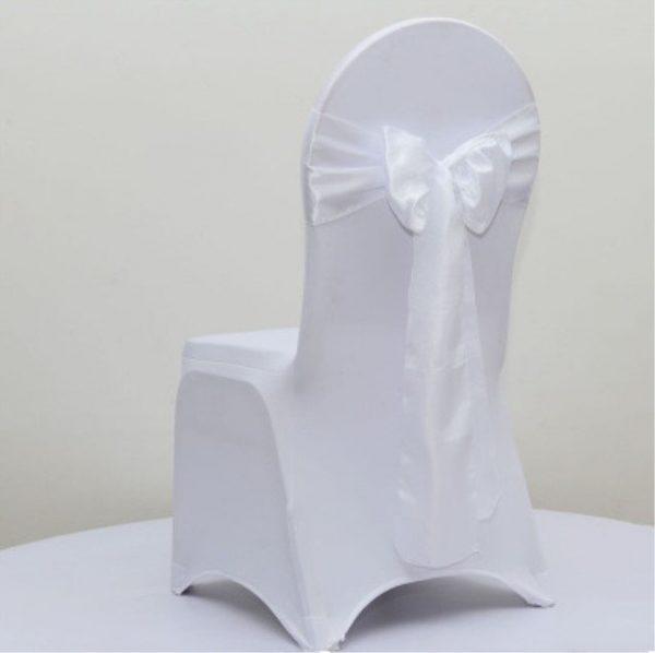 White Satin Chair Sashes Bows Tie Ribbon Table Runners Wedding Engagement Birthday Party Christening Home Decoration