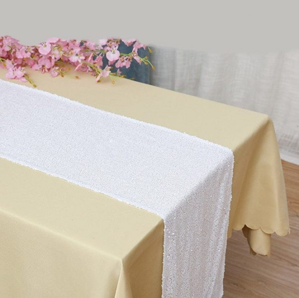White Sequin Table Runners Engagement Wedding Banquet Ceremony Feast Sparkling Birthday Anniversary Party Reception Dining Decoration