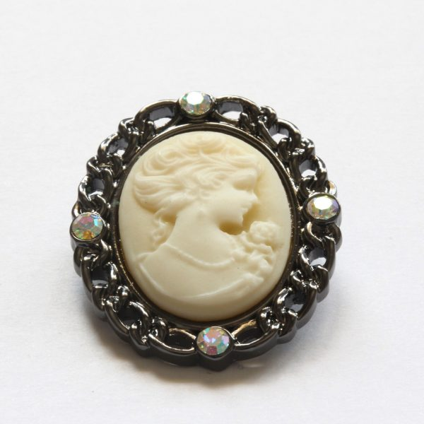 White Vintage Cameo Brooch