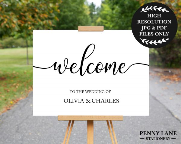 White Welcome Sign, Wedding Poster, Decorations, Printable Signs, Large Print, Swcs1
