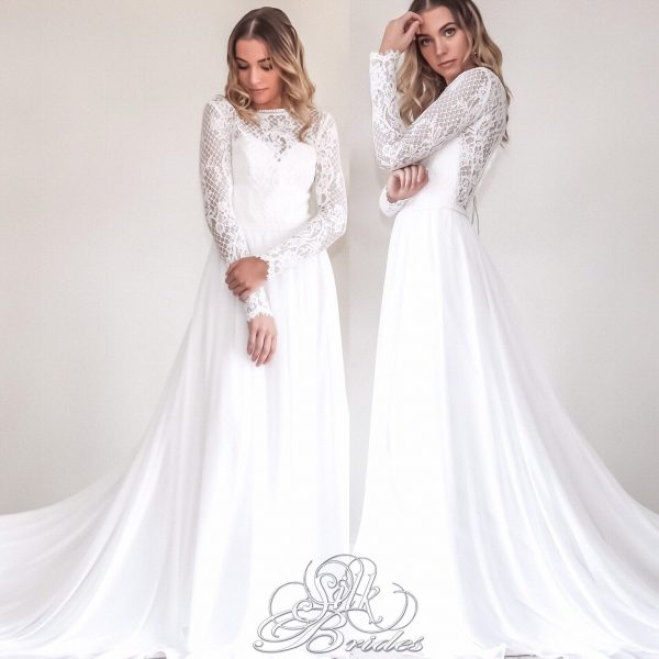 Winter Wedding Dress With Long Lace Sleeves
