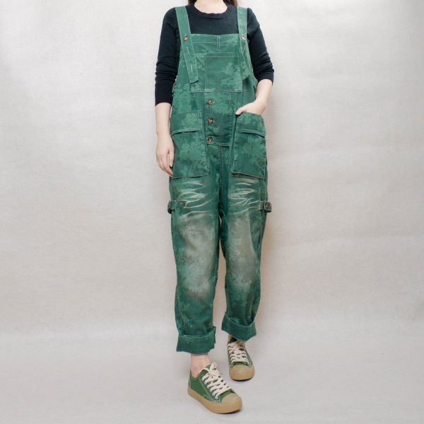 Women Breezy Cotton Jumpsuits, Comfortable Pants Printed Overalls, Floral Wide Leg Roomy Cropped Harem With Pockets
