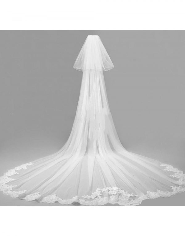 Women Bride Bridal Wedding Floral Embroidery Trim Edge Pure White Hair Head Long Veil Hair Accessory With Comb 3 Meters Length