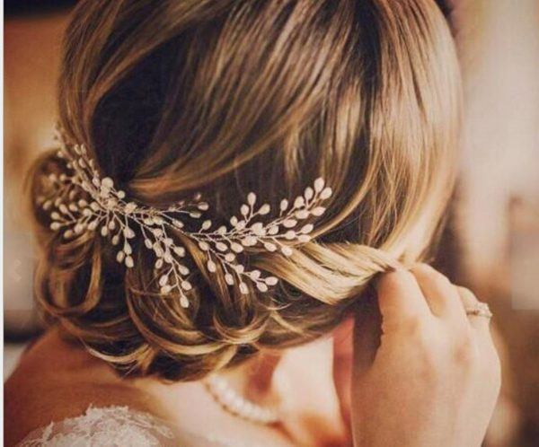 Women Lady Dance Prom Party Bride Bridal Wedding Rice Pearl Pin Styling Silver Headpiece Headwear Prop Hair Comb Accessory