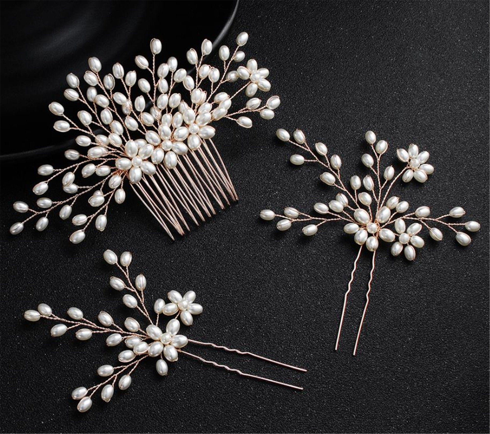 Women Lady Dance Prom Party Bride Bridal Wedding White Pearl Rose Gold Pin Styling Headpiece Headwear Head Hair Comb Accessory Jewelry Set