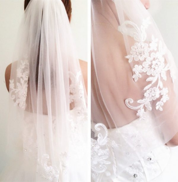 Women Lady Gorgeous Bride Bridal Wedding Pure White Sequins Embroidery Floral Flower Hair Head Veil Hair Accessory With Comb Hen's Night