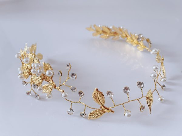 Women Lady Wedding Bride Girl Gold Color Leaf Leaves Wire Pearl Forehead Hairpiece Fascinator Hair Head Band Headband Accessory Tiara