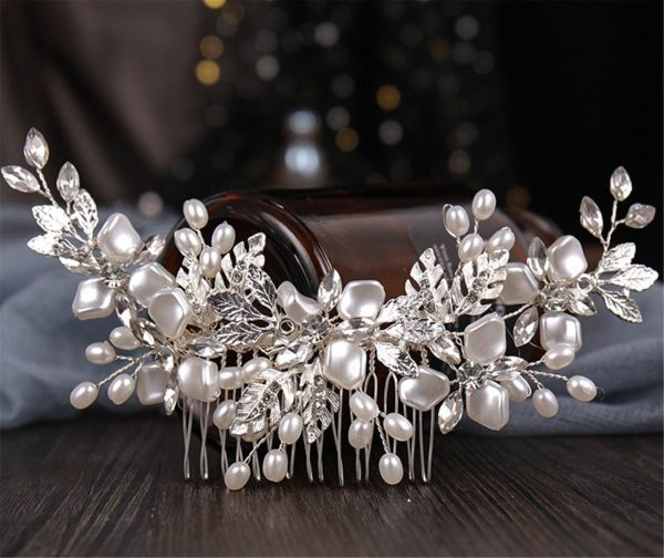 Women Lady Wedding, Party Silver Color Leaf Pearl Crystal Rhinestone French Hair Comb Pin Clip Accessory